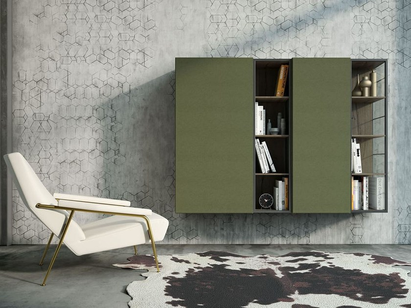 Lacquered floating bookcase REBEL MR_02 by Fimar