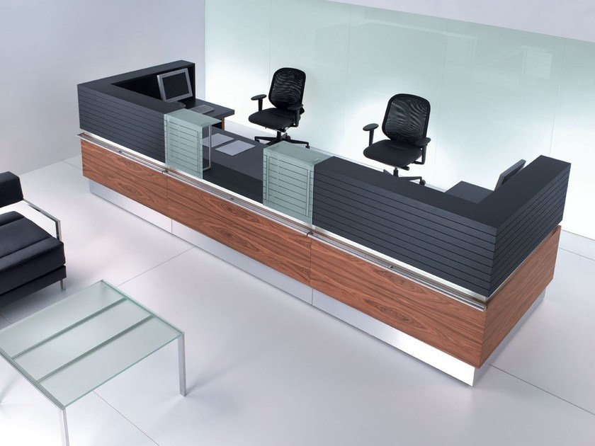 Modular Reception desk with Built-In Lights HORIZON | Reception desk - BALMA