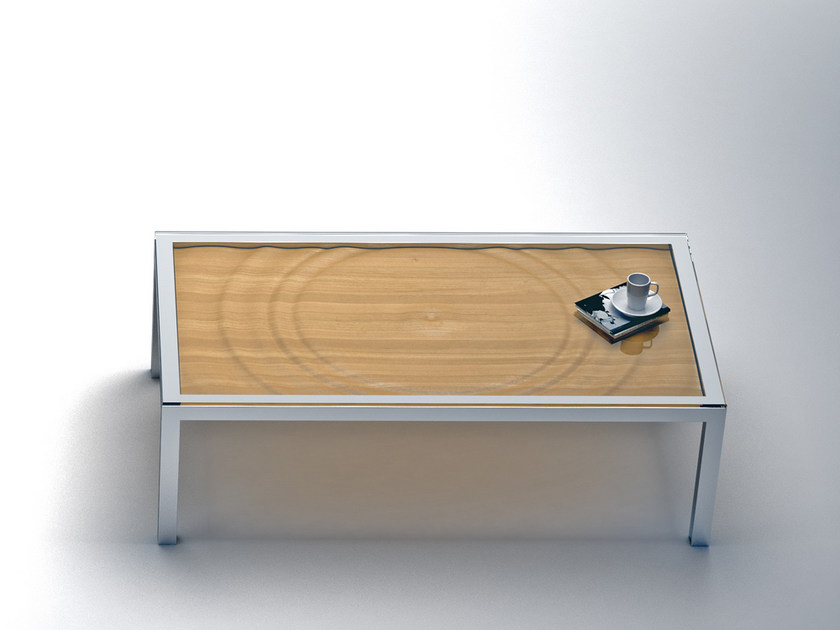 Low rectangular steel and wood coffee table AQUA | Rectangular coffee table - Altinox Minimal Design