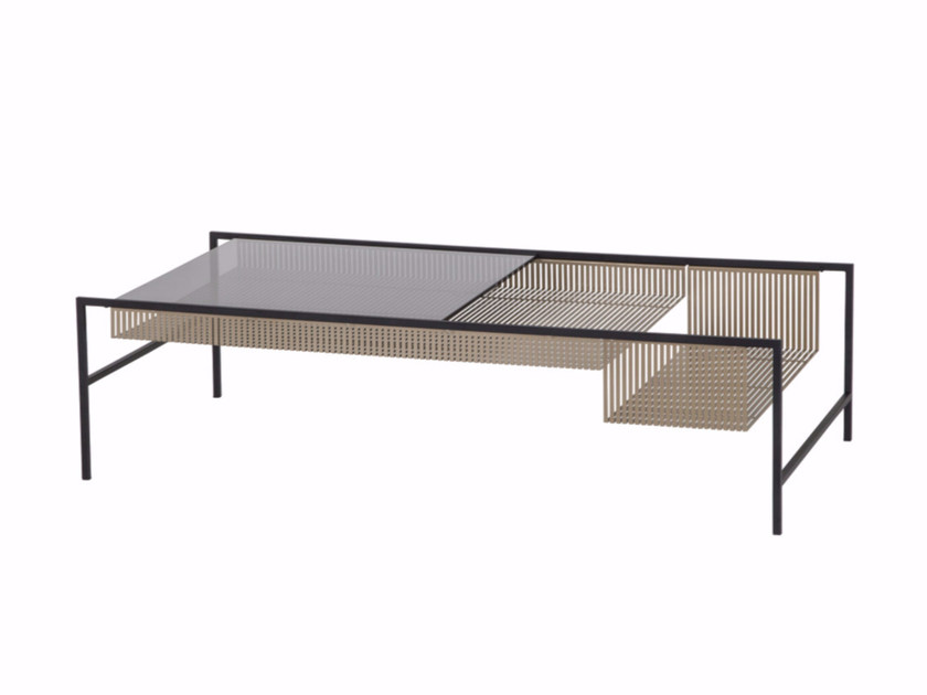 Rectangular glass and steel coffee table AGRAFE | Rectangular coffee table - ROCHE BOBOIS
