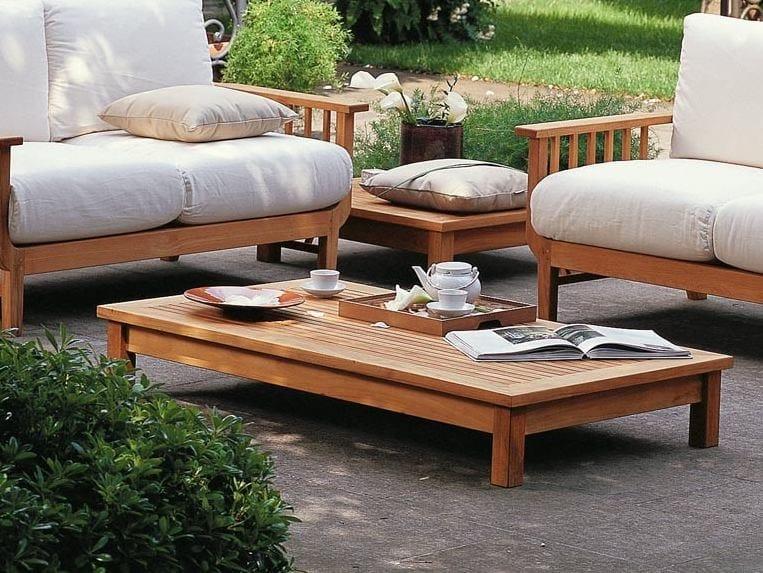 Low rectangular teak garden side table CHELSEA   Rectangular coffee table by Unopiù