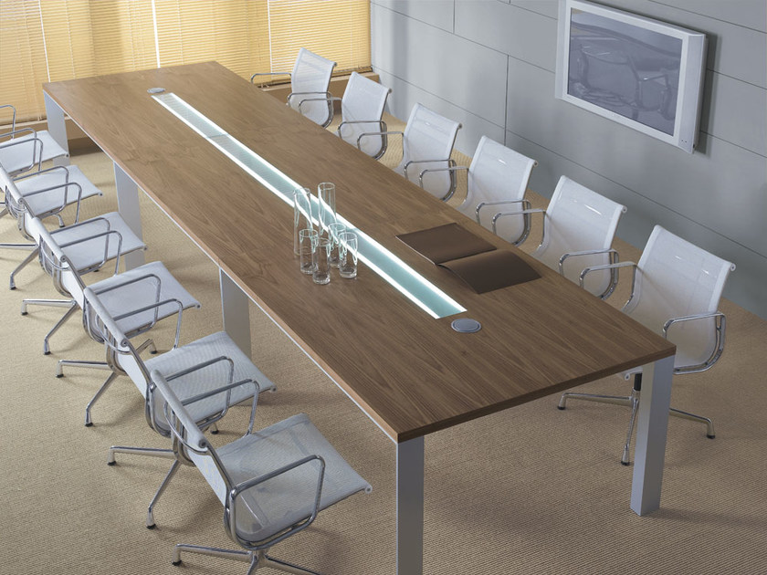 Rectangular meeting table with cable management IN | Rectangular meeting table by BALMA