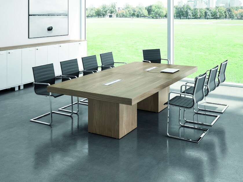 Rectangular meeting table with cable management T45 | Rectangular meeting table by Quadrifoglio