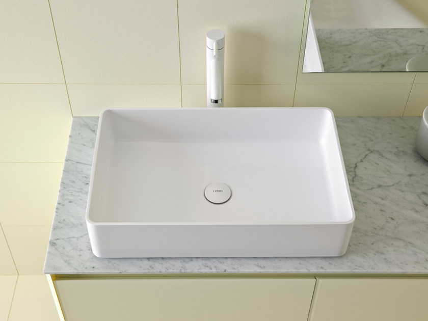 Countertop rectangular Ceramilux® washbasin GLAZE | Rectangular washbasin - INBANI
