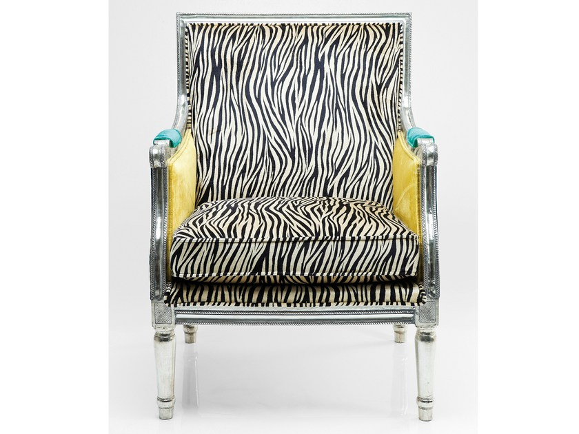 Upholstered fabric armchair with armrests REGENCY ZEBRA by KARE-DESIGN