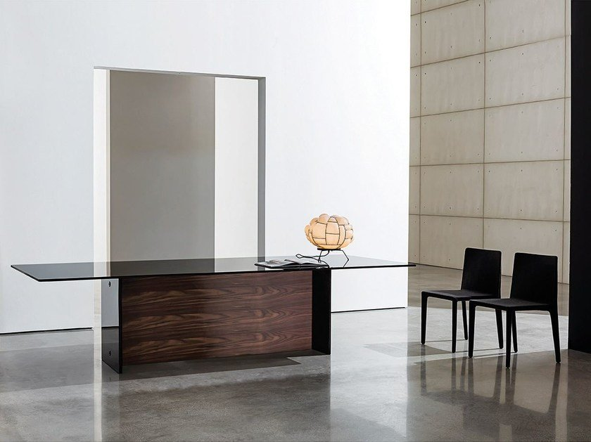 Rectangular wood and glass table REGOLO DOUBLE BASE by Sovet italia