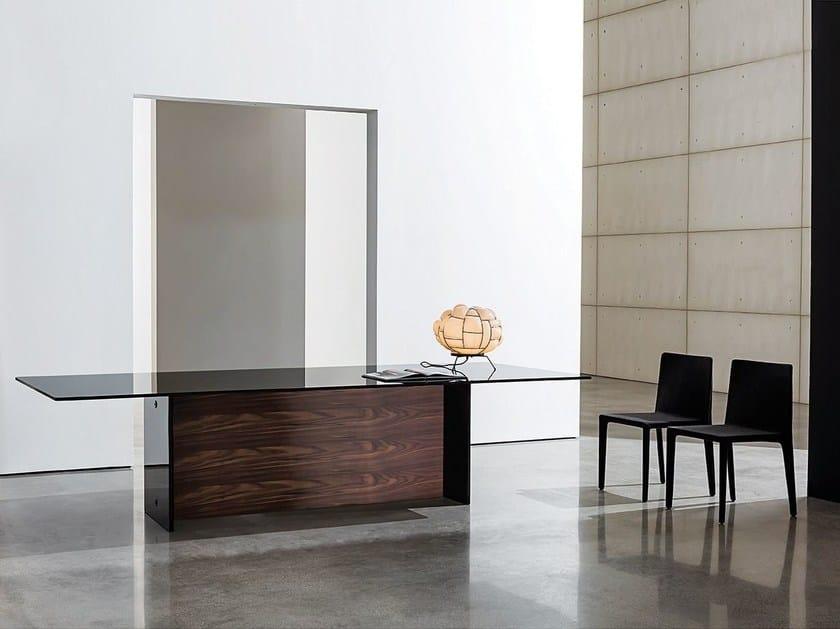 Rectangular wood and glass table REGOLO DOUBLE BASE - SOVET ITALIA