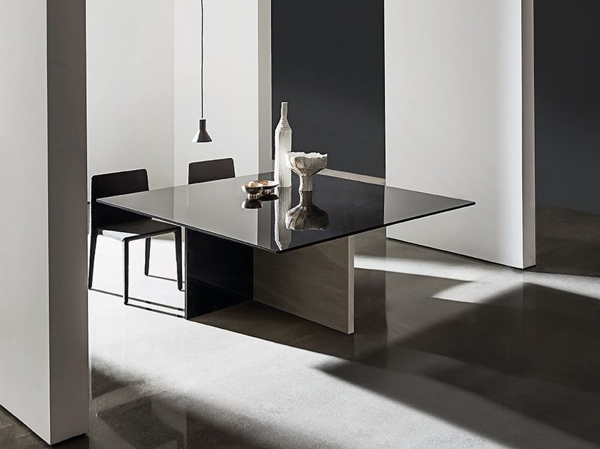 Square wood and glass table REGOLO | Square table - SOVET ITALIA