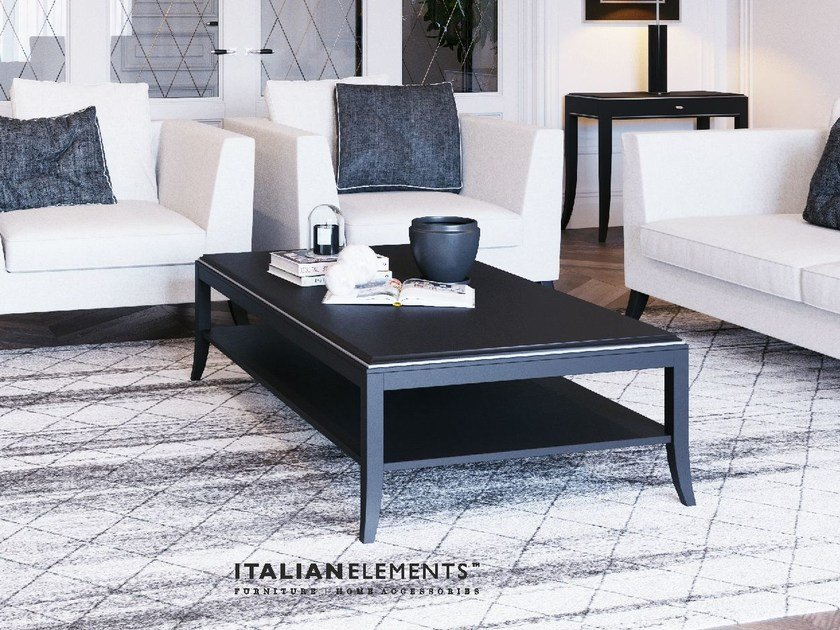 Wooden coffee table with integrated magazine rack RELIEF | Coffee table by ITALIANELEMENTS