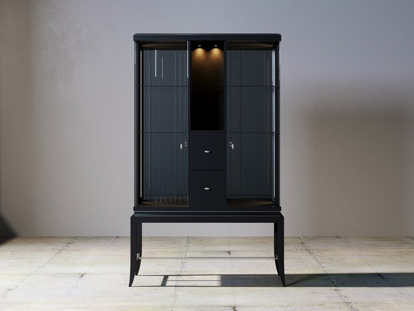Wood and glass display cabinet with integrated lighting RELIEF | Display cabinet by ITALIANELEMENTS