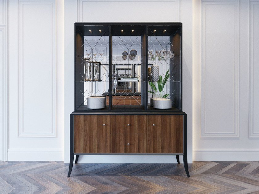 Wood and glass highboard with doors RELIEF | Highboard by ITALIANELEMENTS