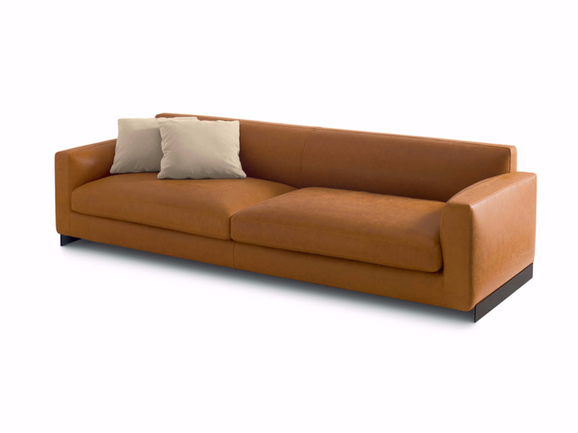 Upholstered leather sofa RENDEZ-VOUS | Leather sofa - arflex