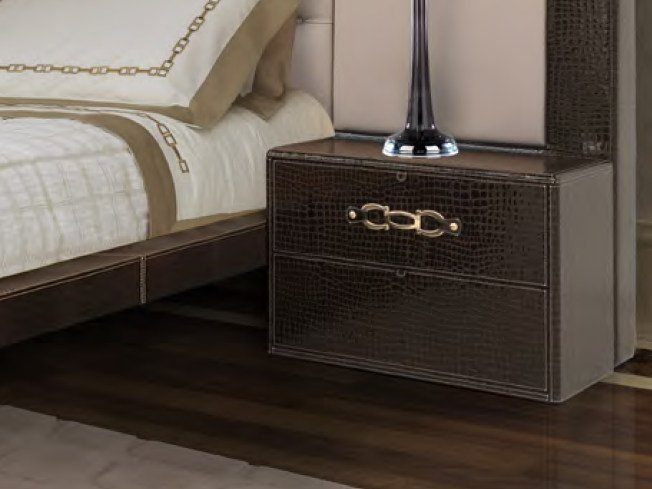 Rectangular leather bedside table with drawers RIBOT | Bedside table - Formitalia Group