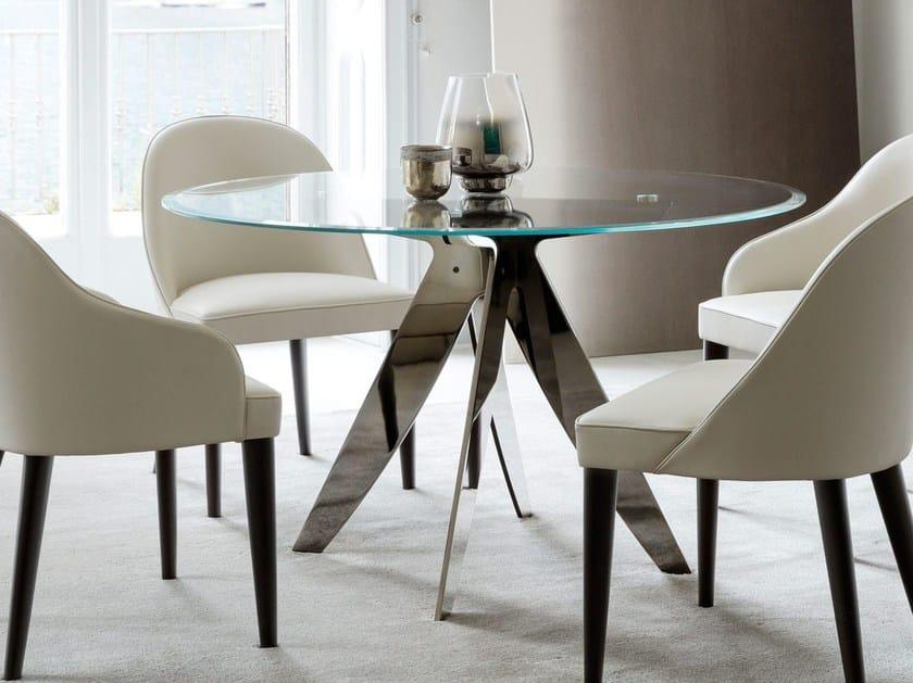 Tavolo da salotto rotondo in cristallo RING | Tavolo in cristallo ...