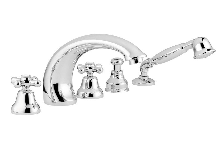 Classic style wall-mounted bathtub set with hand shower RITRÒ | Bathtub tap with hand shower - RUBINETTERIE RITMONIO