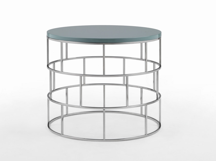 Round metal and wooden coffee table RIVIERA - FLEXFORM