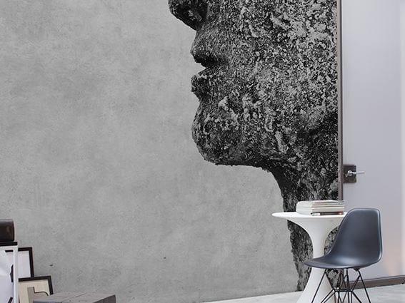 Wall effect panoramic wallpaper ROCKFACE - Inkiostro Bianco