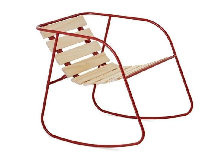 Rocking steel and wood garden chair ROCKY | Rocking chair - Nola Industrier