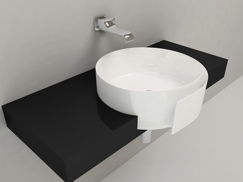 Semi-inset ceramic washbasin ROLL 56 | Semi-inset washbasin - CERAMICA FLAMINIA
