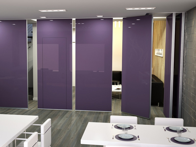 Sliding tempered glass operable wall ROLLING WALL | Glass operable wall - Arcadia Componibili - Gruppo Penta