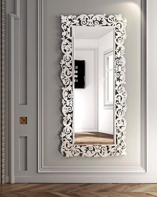 Specchio rettangolare a parete con cornice romantico - Specchio cornice bianca ...