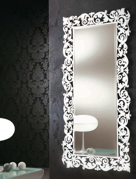 Specchio rettangolare a parete con cornice romantico - Specchio parete ikea ...