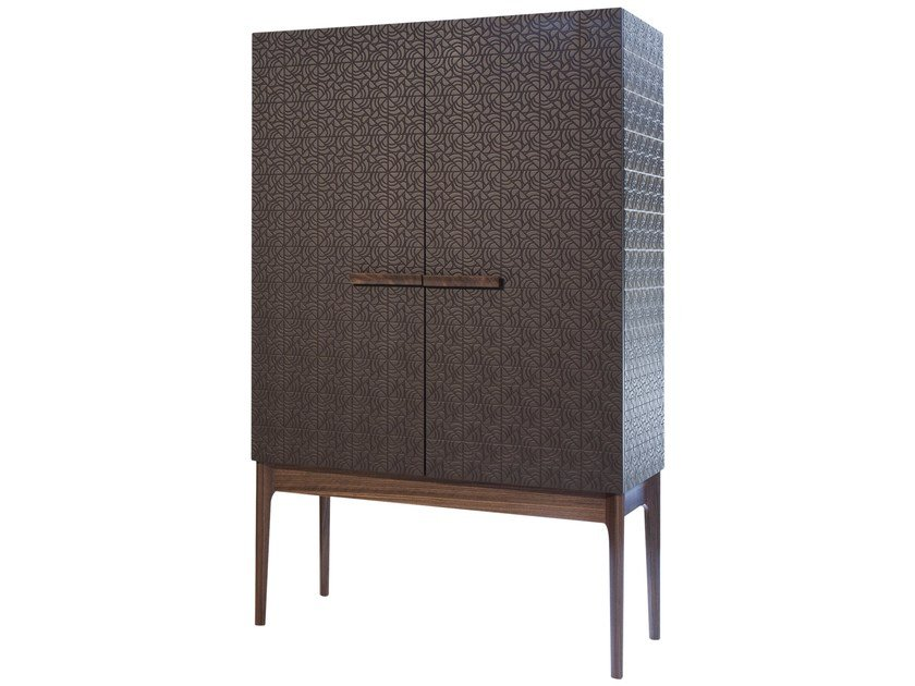 Lacquered wood veneer highboard with doors ROSA | Highboard by Mobi
