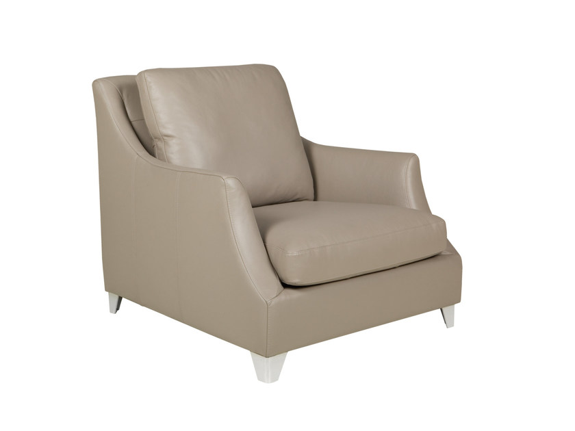Upholstered leather armchair with armrests ROSE   Leather armchair - SITS