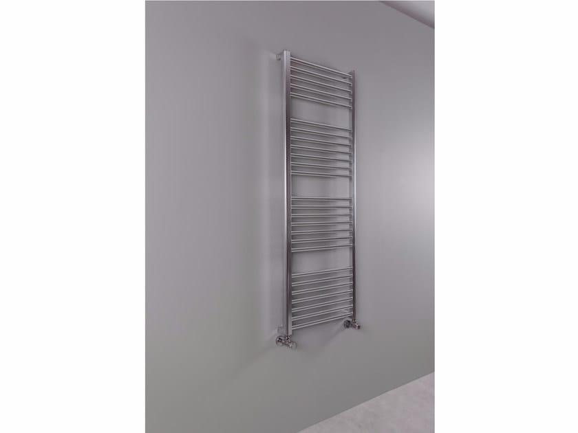 Vertical wall-mounted aluminium towel warmer ROUND-AL BATH by RIDEA