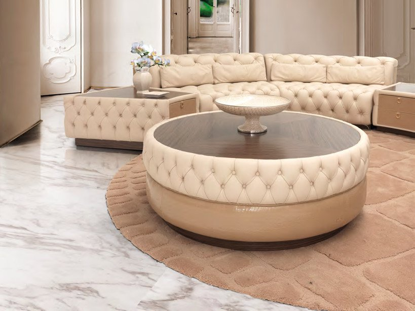 Low round leather coffee table for living room PICCADILLY CIRCUS | Round coffee table by Formitalia Group