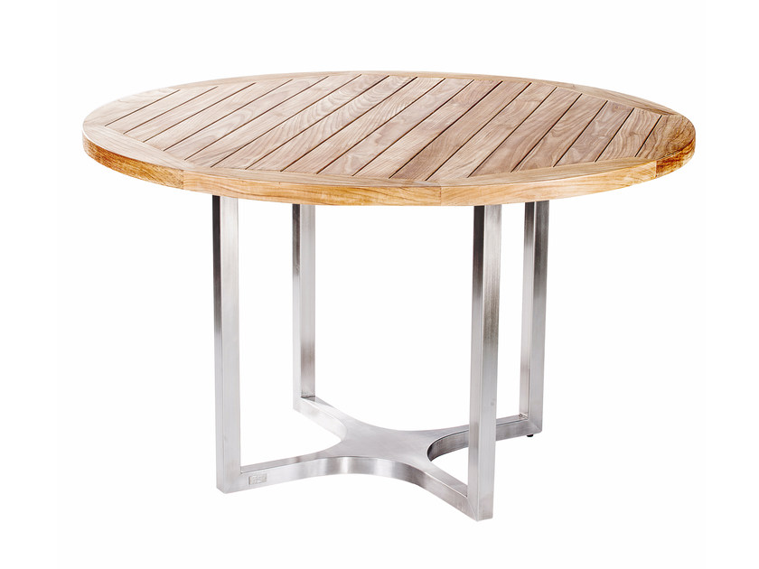 Steel and wood garden table CITYSCAPE | Round table - 7OCEANS DESIGNS