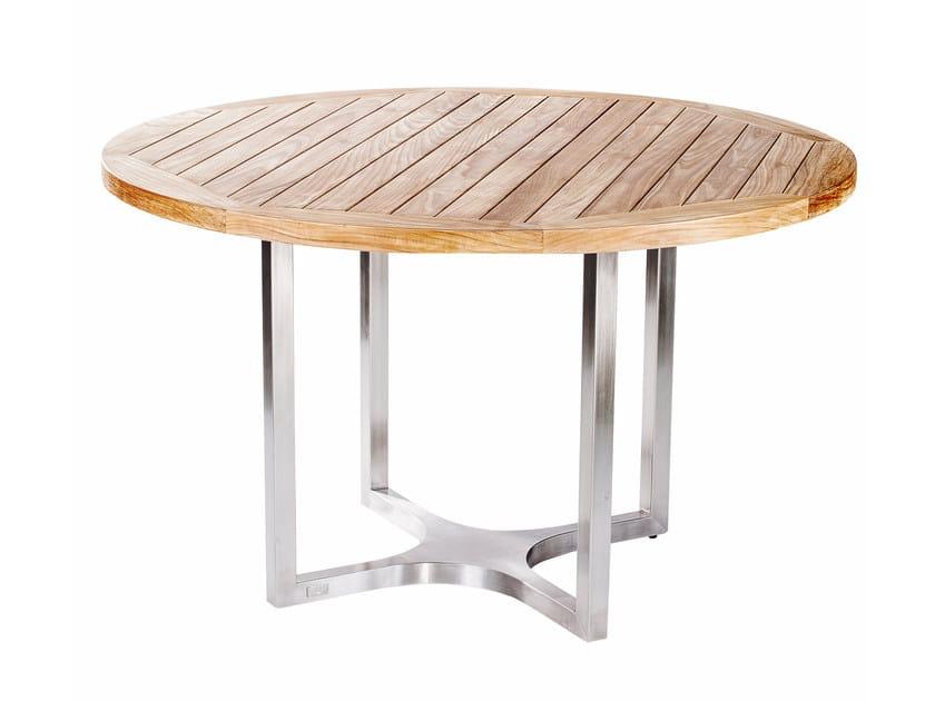 Tavolo da giardino da pranzo in acciaio e legno CITYSCAPE | Tavolo rotondo - 7OCEANS DESIGNS