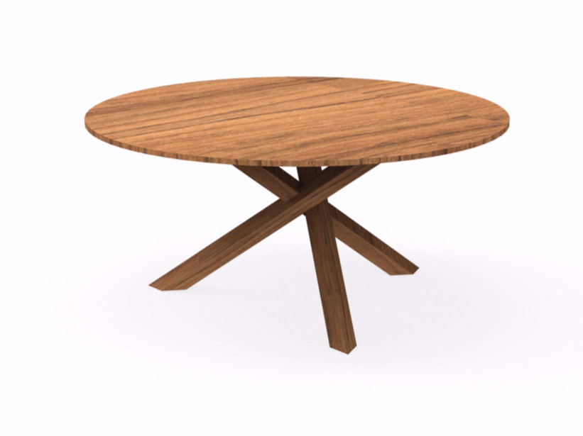 Round mahogany garden table BRIDGE | Round table - Talenti