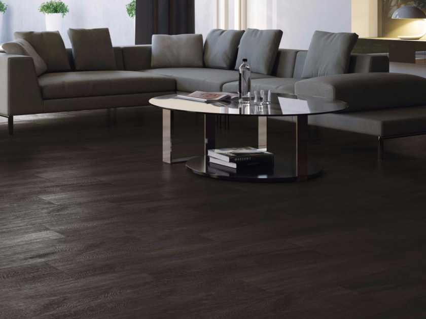 Porcelain stoneware flooring with wood effect ROVERE NERO - GranitiFiandre