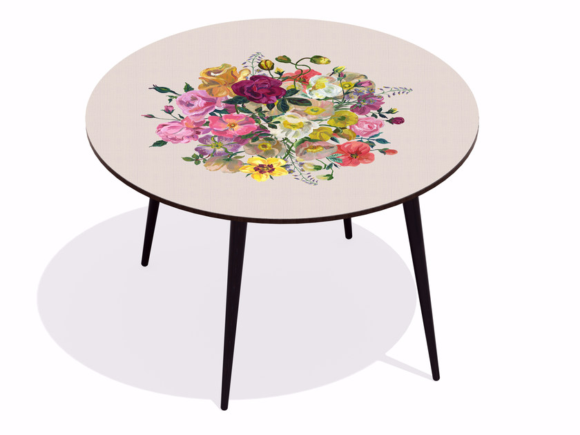 Round beech wood and HPL dining table ROYAL BOUQUET BEIGE ROSE' - Bazartherapy