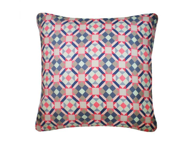 Square silk cushion RUBIK PRINTED SILK NAVY PINK by Nitin Goyal London