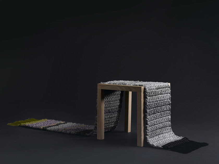 Low wooden stool RUG STOOL - iota project