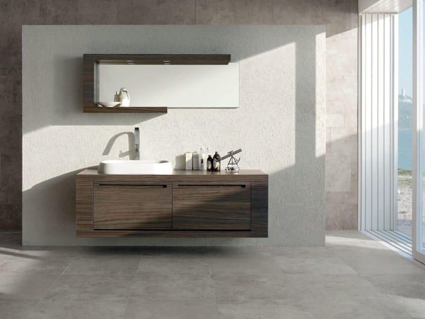 Single zebrano vanity unit RUSH - COMPOSITION 14 - Arcom