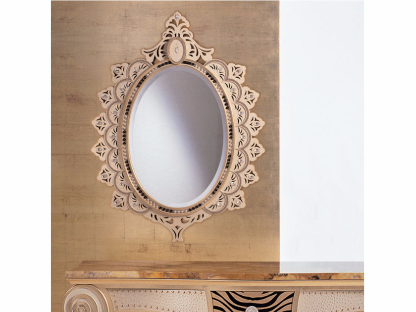Wall-mounted framed mirror with Swarovski® Crystals S71 | Mirror - Rozzoni Mobili d'Arte