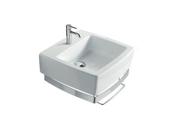 Rectangular ceramic washbasin with towel rail SA.02 50 | Washbasin - GALASSIA