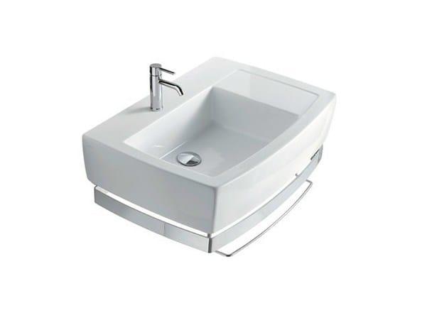 Rectangular ceramic washbasin with towel rail SA.02 70 DX | Washbasin - GALASSIA