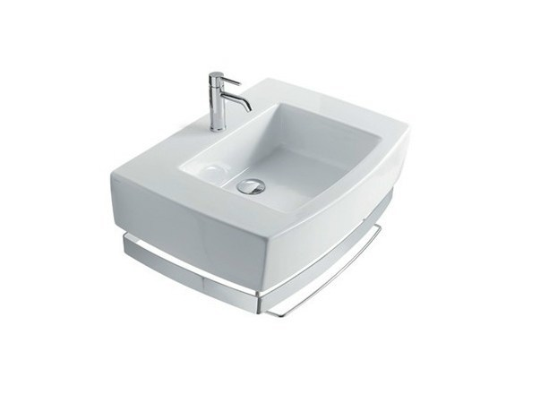 Rectangular ceramic washbasin with towel rail SA.02 70 | Washbasin - GALASSIA