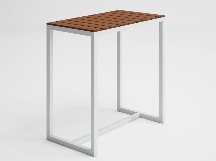 Rectangular teak high table SALER SOFT TEAK | Contract table by GANDIA BLASCO