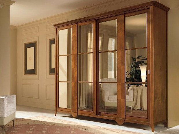 Mirrored solid wood wardrobe SALIERI | Wardrobe - Arvestyle