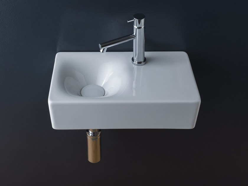 Rectangular wall-mounted ceramic handrinse basin MINI CUBE | Rectangular handrinse basin by Scarabeo Ceramiche