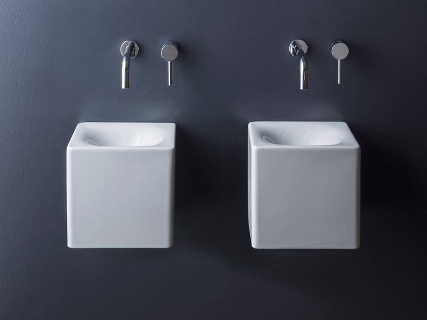 Square wall-mounted ceramic washbasin CUBE | Square washbasin - Scarabeo Ceramiche