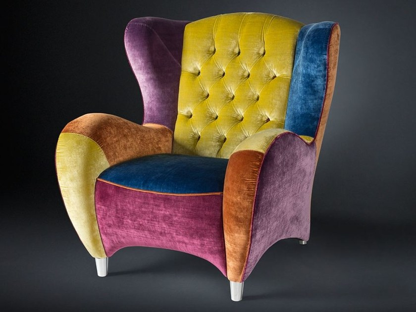 Tufted fabric armchair with armrests SCHINKE | Fabric armchair - VGnewtrend