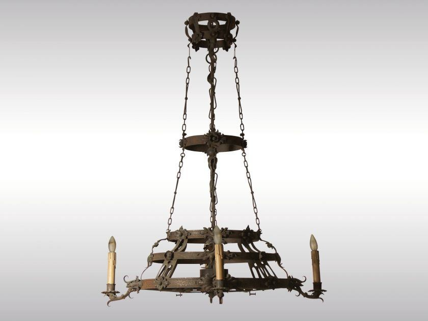 Classic style brass chandelier SCHMIEDEEISEN-LUSTER - Woka Lamps Vienna
