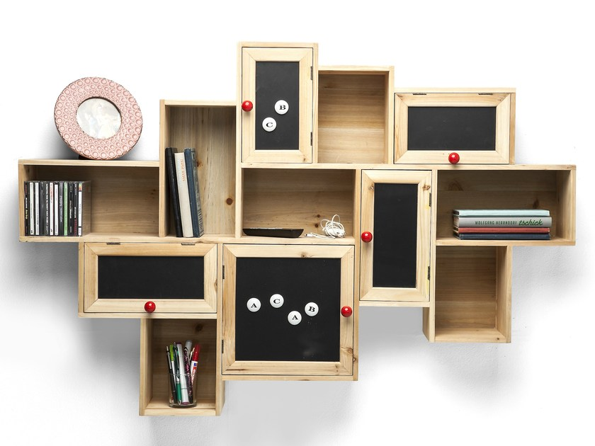 Wall-mounted spruce bookcase with drawers SCHOOLS OUT - KARE-DESIGN