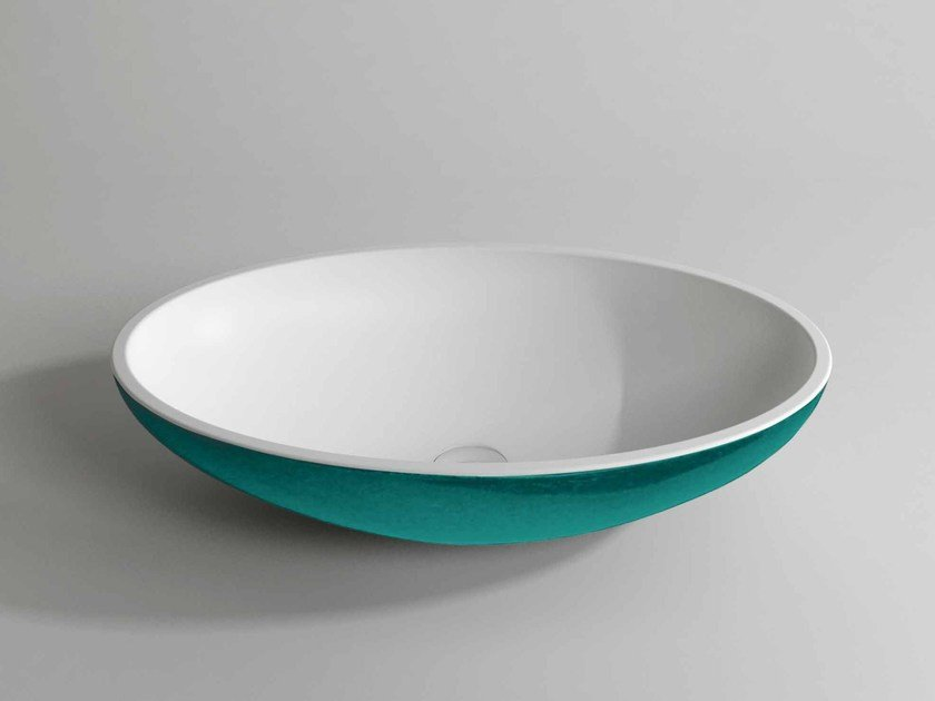 Countertop oval Stonelight washbasin SCOOP DOUBLE - Flora Style